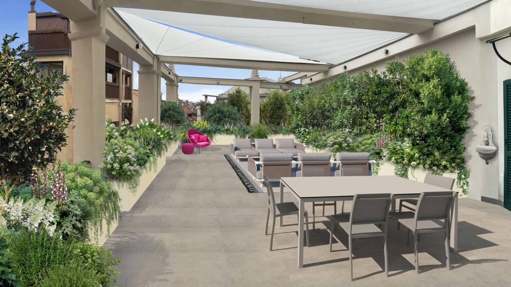 terrazza con giardino verticale a milano